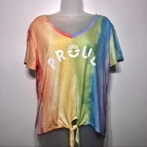 """Fifth Sun Rainbow 🌈 """"Proud"""" Knotted Crop Top XXL"""